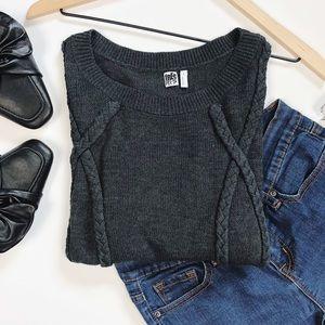 Free Press | dark gray long sleeve knit sweater